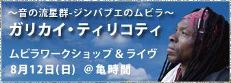 2018年8月12日(日)世界最高峰ムビラ奏者ガリカイ・ティリコティ ライブ@亀時間