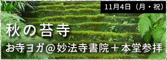 11月4日(月・祝)秋の苔寺 お寺ヨガ@妙法寺書院+本堂参拝 参加者募集!