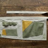 亀時間オリジナルガーデンエプロン  緑×黄