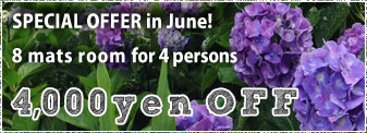 June discount coupon of the room for 4 persons